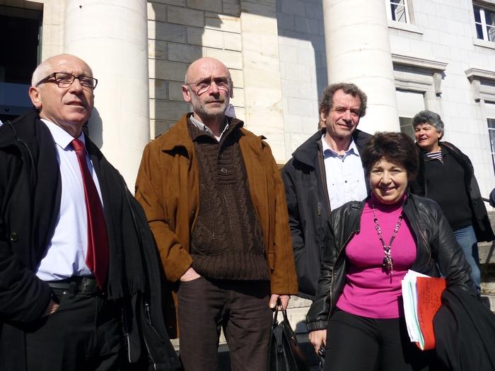 Ezker-esküin : Jean-René Etxegarai, Mixel Berhokoirigoin, Joseph Montier eta Corinne Lepage